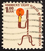 Postage stamp USA 1975 Rush Lamp and Candle Holder — Stock Photo