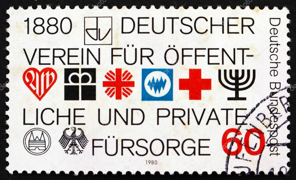 GERMANY - CIRCA 1980: a stamp printed in the Germany shows German Association for Public and Private Social Welfare, Centenary, circa 1980 — Stock Photo #11114573