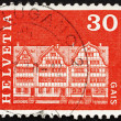 Postage stamp Switzerland 1968 Gabled Houses, Gais, Switzerland - Zdjęcie stockowe