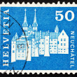 Postage stamp Switzerland 1968 Castle and Abbey Church, Neuchate - Stock fotografie
