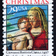 Postage stamp USA 1993 Madonna and Child by Giovanni Battista Ci - 图库照片