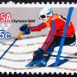 Postage stamp USA 1980 Downhill Skiing - Stock Photo
