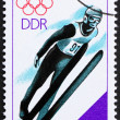 Postage stamp GDR 1988 Ski Jumping - Stock Photo
