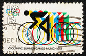Postage stamp USA 1972 Bicycling and Olympic Rings — Stock Photo