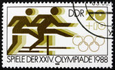 Postage stamp GDR 1988 Hurdle Race — Stock Photo