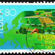 Postage stamp Switzerland 1988 Map of Europe - Stock Photo