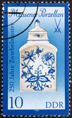 Postage stamp GDR 1989 Tea Caddy, Meissen Porcelain — Stock Photo
