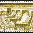 Postage stamp Switzerland 1949 Dam and Power Station, Hydroelect - Stock Photo