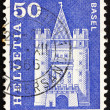Постер, плакат: Postage stamp Switzerland 1960 Spalen Gate Basel Switzerland