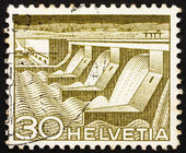 Postage stamp Switzerland 1949 Dam and Power Station, Hydroelect — Stock Photo
