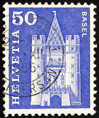 Postage stamp Switzerland 1960 Spalen Gate, Basel, Switzerland — Stock Photo