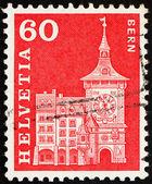 Timbre-poste suisse 1960 tour de l'horloge, berne, suisse — Photo
