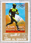 Postage stamp Umm al-Quwain 1972 Helsinki 1952, Olympic Games of — Stock Photo