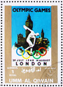 Postage stamp Umm al-Quwain 1972 London 1948, Olympic Games of t — Stock Photo