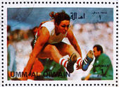Postage stamp Umm al-Quwain 1972 Long Jump, Summer Olympics, Mun — Stock Photo