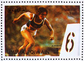 Affranchissement de timbres um al-quwain 1972 sprint, summer olympics, munich — Photo