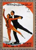 почтовые марки аджман 1973 фигурное, зимние олимпийские игры — Стоковое фото