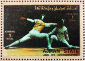 Postage stamp Ajman 1973 Fencing, Olympic sports — Stock Photo