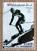 Briefmarke ajman 1973 abfahrtslauf, olympische winterspiele — Stockfoto