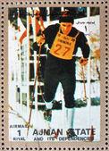 Franqueo estampilla ajman 1973 esquí de fondo, los juegos olímpicos de invierno — Foto de Stock