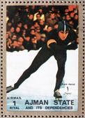 Postage stamp Ajman 1973 Speed Skating, Winter Olympics — Stockfoto
