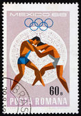 Postage stamp Romania 1968 Wrestling, Olympic sports, Mexico 68 — Stock Photo