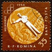 Postage stamp Romania 1961 Pistol Shooting, Olympic sports, Melb — Stock Photo