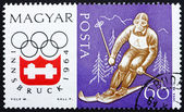 Postage stamp Hungary 1963 Downhill Skiing, Olympic sports, Inns — Stock Photo