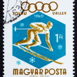 Postage stamp Hungary 1960 Downhill Skier, Olympic sports, Squaw - Stock Photo