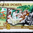 Postage stamp Hungary 1975 Dr. Albert Schweitzer and Patient - Stock Photo