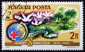 Postage stamp Hungary 1975 Dr. Albert Schweitzer, Hospital Lamba — Stock Photo
