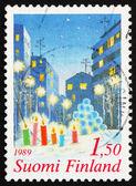 Selo postal finlândia 1981 velas na neve, natal — Fotografia Stock
