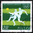 Postage stamp Poland 1964 Soccer, Football, Olympic sports, Toky — Stok Fotoğraf #11391378