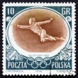 Postage stamp Poland 1956 Fencer, Olympic sports, Melbourne 56 — Stock Photo