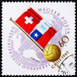 Postage stamp Hungary 1962 Globe, Ball and Flags of Switzerland — Stock Photo