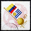 Postage stamp Hungary 1962 Globe, Ball and Flags of Argentina an — Stock Photo