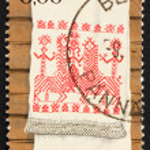 Постер, плакат: Postage stamp Finland 1980 Kaspaikka Towel Design Ritual Towel