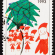Postage stamp Finland 1993 Santa and Christmas Tree — Stock Photo