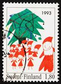 Postage stamp Finland 1993 Santa and Christmas Tree — Stock Photo