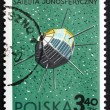 Stock Photo: Postage stamp Poland 1966 Alouette, CanadiSatellite