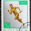 Stock Photo: Postage stamp Poland 1965 Relay Race, Silver Medal by Poland Tok