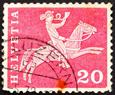 Postage stamp Switzerland 1960 Postilion on Horseback — Stock Photo