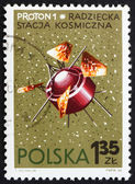 Postage stamp Poland 1966 Proton 1, USSR Satellite — Stock Photo