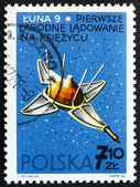Selo postal Polónia 1966 luna 9, naves espaciais da Urss — Fotografia Stock
