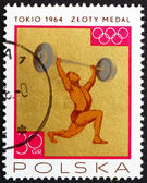 Postage stamp Poland 1965 Weight Lifting, Gold Medal by Poland T — Stock Photo