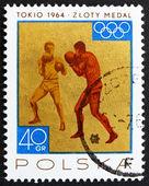 Poštovní známka polsko 1965 boxu, zlatá medaile v polsku tokio 64 — Stock fotografie