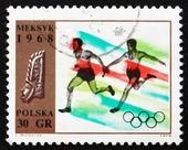 切手ポーランド 1968年駅伝大会、オリンピック スポーツ、メキシコ 68 — ストック写真