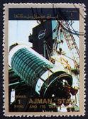 Postage stamp Ajman 1973 Assembly of a Rocket — Stock Photo