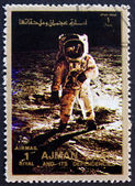 Postage stamp Ajman 1973 Aldrin walks on the Moon — Stock Photo