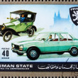 Postage stamp Ajman 1972 Peugeot, Cars Then and Now — Stock Photo
